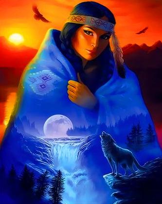 Картина по номерам 40x50 Индианка, водопад и волк